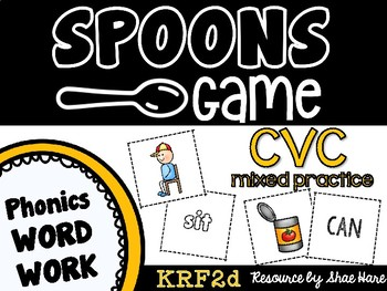Spoons Game {Reading} CVC short vowel MIXED PRACTICE [Phonics Word Work]