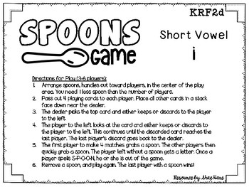 Spoons Game {Reading} CVC short vowel i [Phonics Word Work]