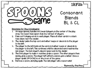 Spoons Game {Reading} Consonant Blends BL & CL [Phonics Word Work]