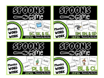 Spoons Game {Reading} Consonant Blends BUNDLE [Phonics Word Work]