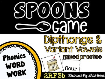 Spoons Game {Reading} Dipthong & Variant Vowel MIXED REVIEW [Phonics Word Work]