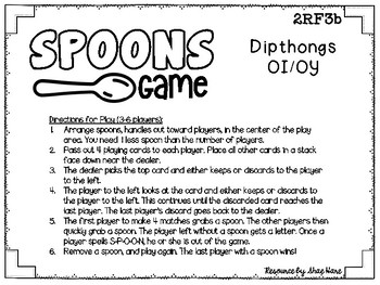 Spoons Game {Reading} Dipthongs OI - OY [Phonics Word Work]
