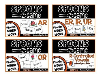 Spoons Game {Reading} R-Controlled Vowel BUNDLE  [Phonics Word Work]