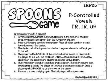 Spoons Game {Reading} R-Controlled Vowels ER IR UR  [Phonics Word Work]