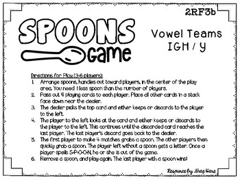 Spoons Game {Reading} Vowel Teams IGH - Y [Phonics Word Work] Long Vowel Teams