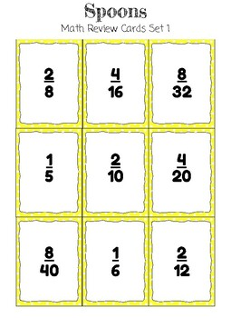 Spoons Math Review Card Game * Equivalent Fractions
