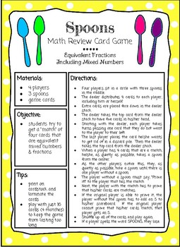 Spoons Math Review Card Game * Equivalent Mixed Numbers and Improper Fractions