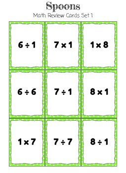 Spoons Math Review Card Game * Multiplication and Division Fact Families