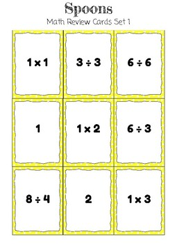 Spoons Math Review Card Game * Multiplication and Division Fact Fluency