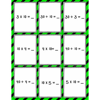 Spoons-Multiplication and Division Fact Family Game (10's)