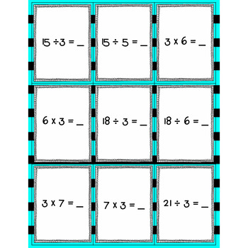 Spoons-Multiplication and Division Fact Family Game (3's)