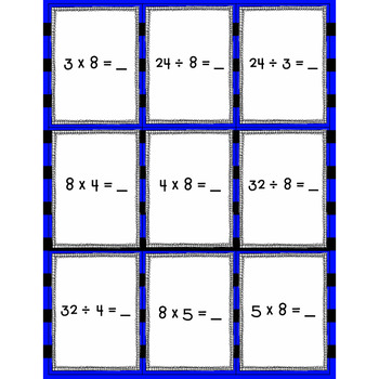 Spoons-Multiplication and Division Fact Family Game (8's)