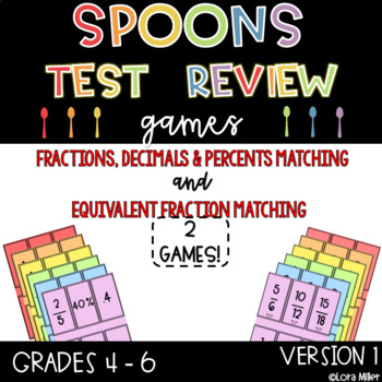 Spoons Test Review Game--Fractions, Decimals and Percents & Equivalent Fractions