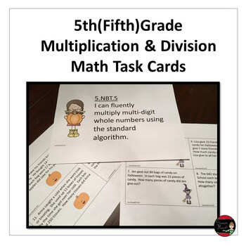 5th (Fifth) Grade Multiplication & Division Math Task Cards