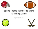 Sports Theme Number to Word Matching Game