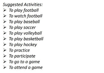 Sport Activity Images / Imágenes de actividades de deportes