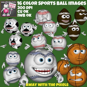 Sport Ball Face Emoticon Clip Art - 16 Clipart Images From Away With The Pixels