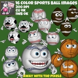 Sport Ball Face Emoticon Clip Art - 16 Clipart Images From