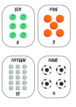 Sport Ball Themed Flash Cards 1 to 20
