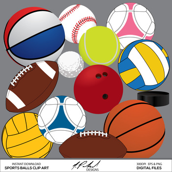 Sport Balls Digital Clip Art