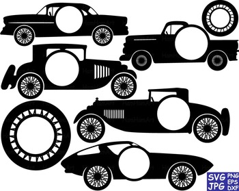 Sport Cars Circle Cutting Files Clip Art svg car truck retro back gear race -61S