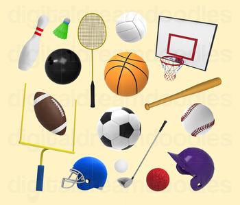 Sport Clip Art - Athletic Sports Gear Digital Graphics
