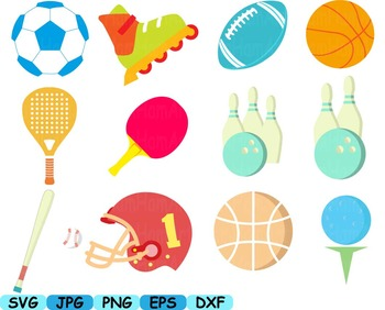 Sport Equipment Cutting clip art soccer ball gear BASEBALL tennis golf  -102s