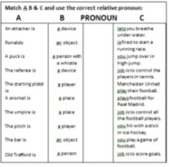 Sport: Relative Clauses and Do Play or Go