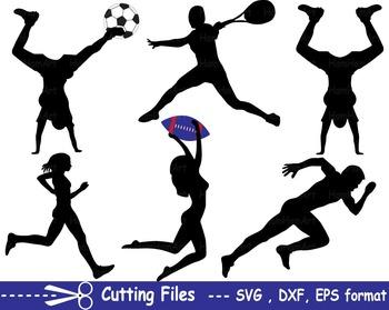 Sport Silhouettei EPS SVG DXF school cutting super football athlete CUT -20S-