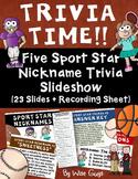 Sport Stars Football Baseball Trivia Activity