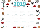 Sport Themed 2019 Classroom Calendar