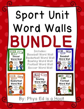 Physical education word walls resources lesson plans teachers sport unit word wall display bundle publicscrutiny Image collections