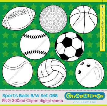 Sport balls black and white digital clipart, commercial us