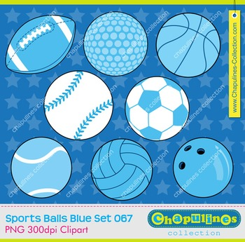 Sport balls blue clipart, personal and commercial use, set 067