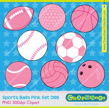 Sport balls pink clipart, commercial use, pink balls  Set 066