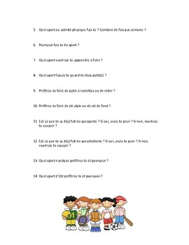 Sport, discussion questions in French