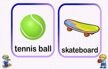 Sport equipment.  Audio vocabulary.