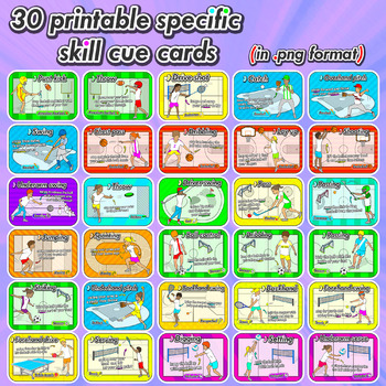 Sport skill Task Cards - 30 printable flash cards for Physical Education