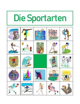 Sportarten (Sports in German) Bingo