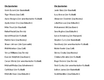 Sportarten (Sports in German) Name brands