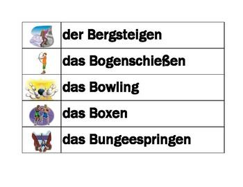 Sportarten (Sports in German) Word Wall