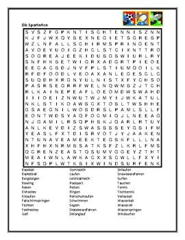 Sportarten (Sports in German) wordsearch