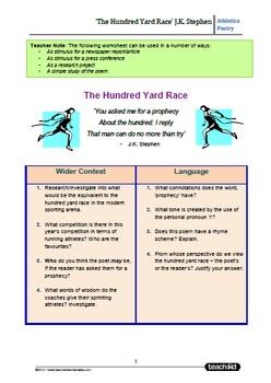 Sporting Poetry: 'The Hundred Yards Race' J.K.Stephens