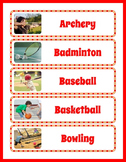 Sports Themed Classroom Decor: 43 Word Wall Slips