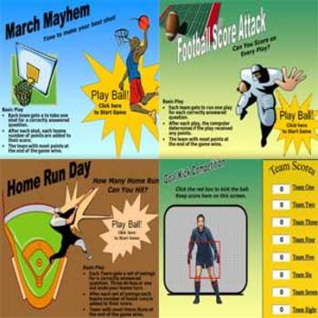 Sports 4 Pack PowerPoint Games - Basketball, Football, Soccer, Baseball