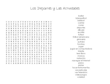 Sports & Activities Wordsearch Puzzles