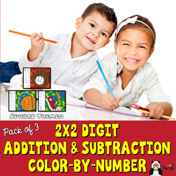 Sports Addition and Subtraction 2-digit Color By Number - Pack of Three