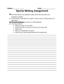 Sports & Adverbs Writing Assignment