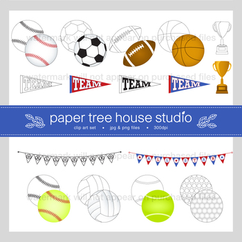Sports All Star Clip Art Set and Black Line Illustrations