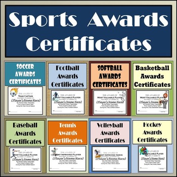 sports awards bundle certificates ballots eight different sports